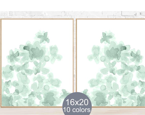 Mint Flowers Posters, 16x20 Set of 2, Available in 10 Colors