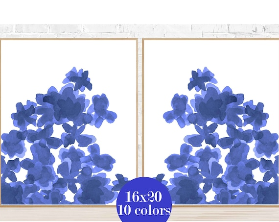 Indigo Flower Posters, 16x20 Set of 2, 10 Colors Available