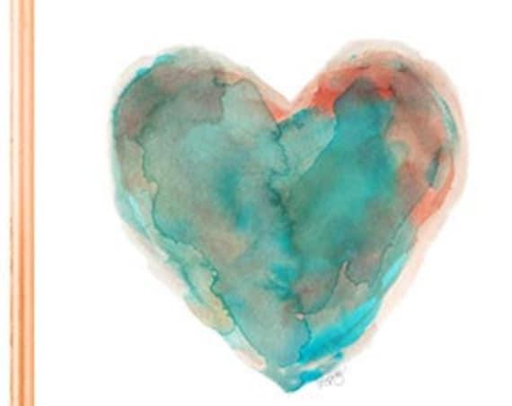 Southwestern Turquoise Heart Print, 5x7, 8x10