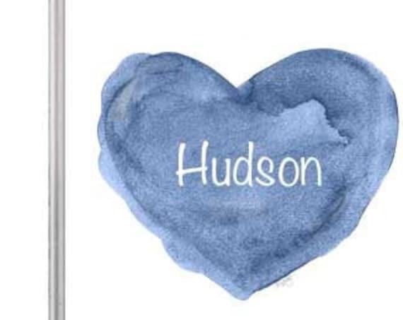 Navy Blue Nursery Art for Newborn Boy, Personalized Heart Print