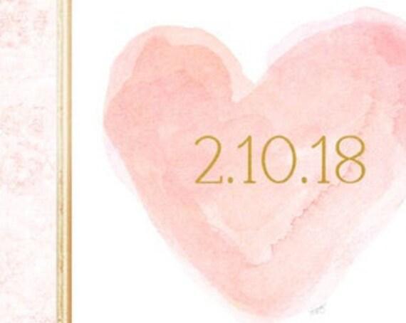 Blush Wedding Decor, 8x10 Print with Gold Wedding Date