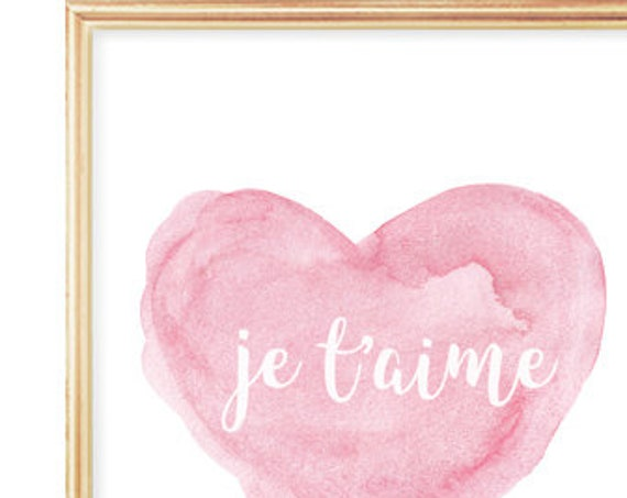 Je t'aime French Nursery Print, 5x7, 8x10