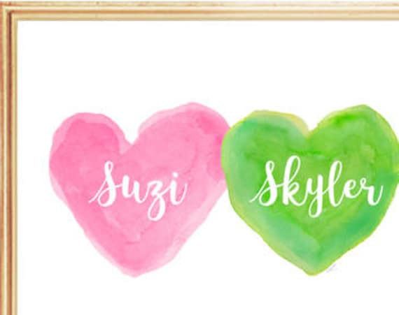 Pink and Green Decor, 8x10 Preppy Hearts Print for Sisters