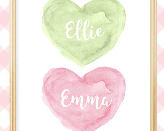 Pink and Green Sisters Print, 8x10 Personalized