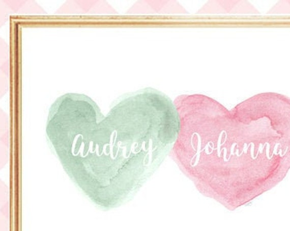 Pink and Mint Girls Nursery Print, 8x10 Hearts Personalized