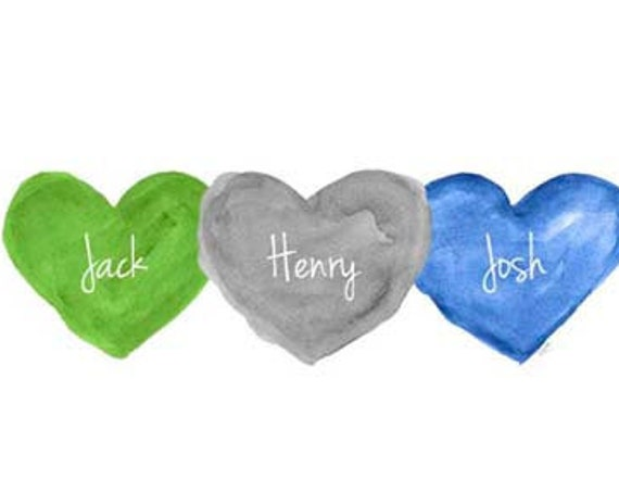 Brothers Wall Art, 8x10 Personalized Gift in Green, Gray and Blue
