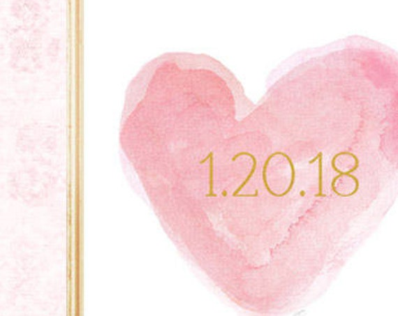 Pink and Gold Wedding Print with Date