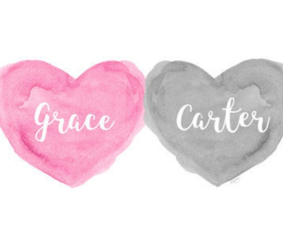 Gray and Pink Personalized Nursery Print for Twins, 8x10 Hearts
