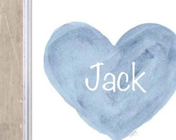 Baby Boy Gift, Personalized Blue or Gray Heart Print in 8x10