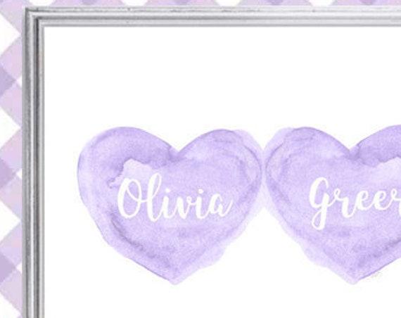 Sisters Nursery Art in Lavender, 8x10 Personalized