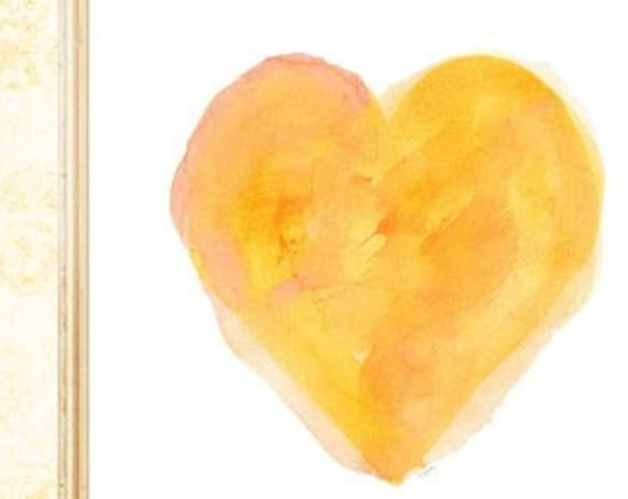 Yellow Painterly Heart Print, 8x10 Watercolor