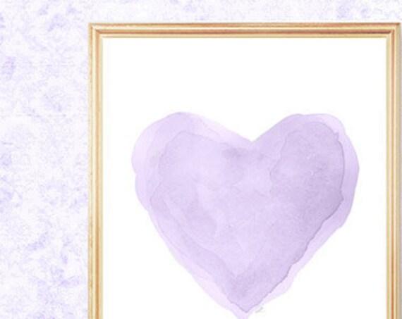 Pretty Pastel Lavender Heart Print, 8x10