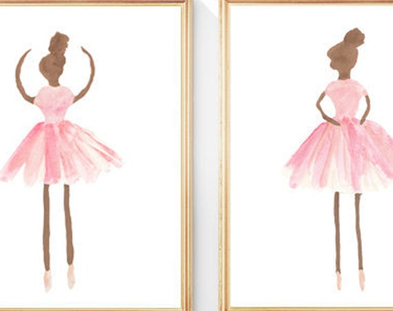 Dark Skin Ballet Prints for Little Girl, Set of 2 - 8x10 Watercolor Prints