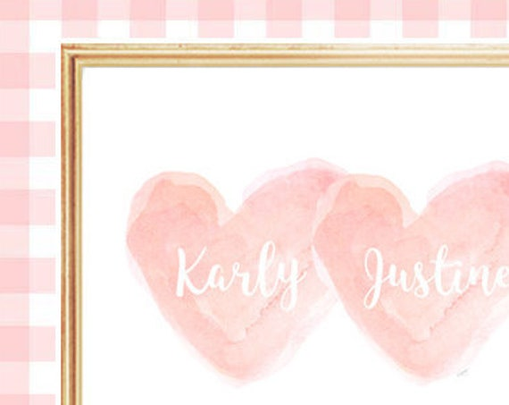 Twin Girls Personalized Print in Blush, 11x14