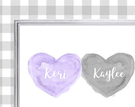 Lavender and Gray Nursery Decor for Siblings, 8x10 Watercolor Print