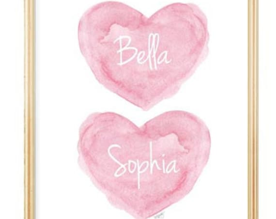 Twin Sisters Nursery Art, 8x10 Personalized Hearts in Pink