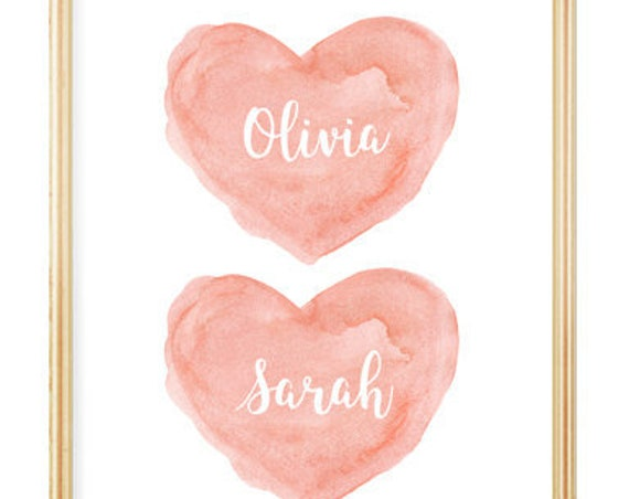 Twin Sisters Baby Gift, 8x10 Personalized Print in Coral
