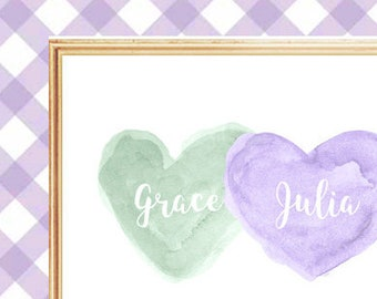 Purple and Mint Nursery Art, 8x10 Personalized Name, Watercolor Print, Lavender and Mint, Twin Girls Gift, Sisters Art, Sisters Room Decor