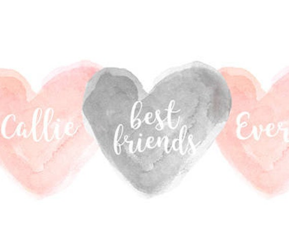 Sisters and Best Friend Print in Blush and Gray, 8x10 Personalized with Names