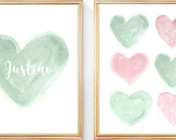 Pink and Mint Girls Print Set,  8x10- set of 2 Personalized  Prints