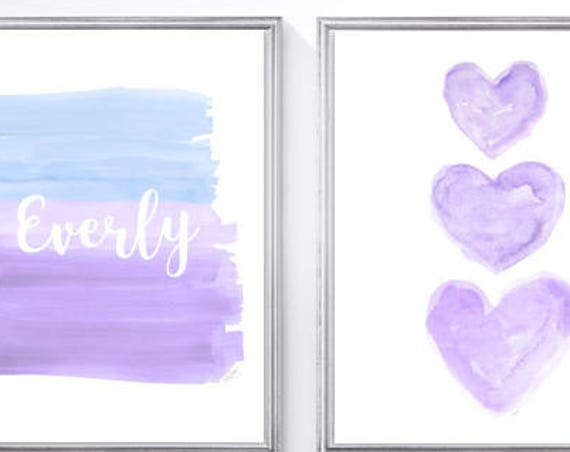 Lavender and Blue Nursery Print Set, Personalized Print Set, 8x10