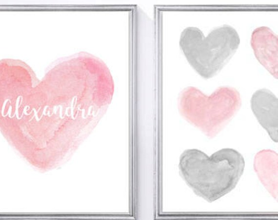 Pink and Gray Nursery Artwork, 11x14 Set of 2 Personalized Prints