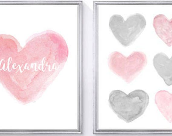 Pink and Gray Baby Nursery, 8x10 Set of 2 Personalized Heart Prints