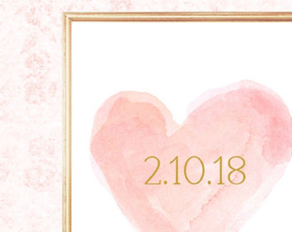 Blush Bridal Shower Gift with Wedding Date, 8x10 Heart Print