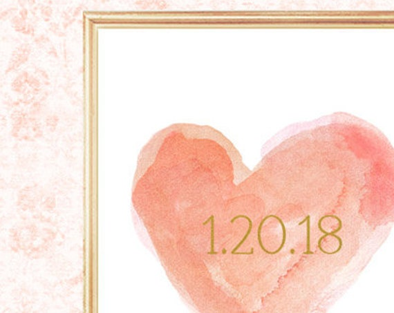 Coral and Gold Wedding Decor, 8x10 Print with Wedding Date