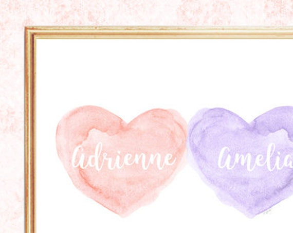 Blush and Lavender Nursery Print, 8x10, Personalized for Sisters