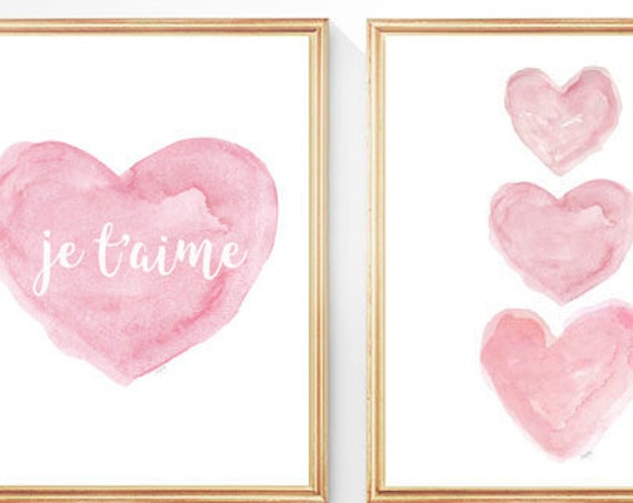 Je t'aime Pink Nursery Prints for French Nursery, Set of 2- 8x10