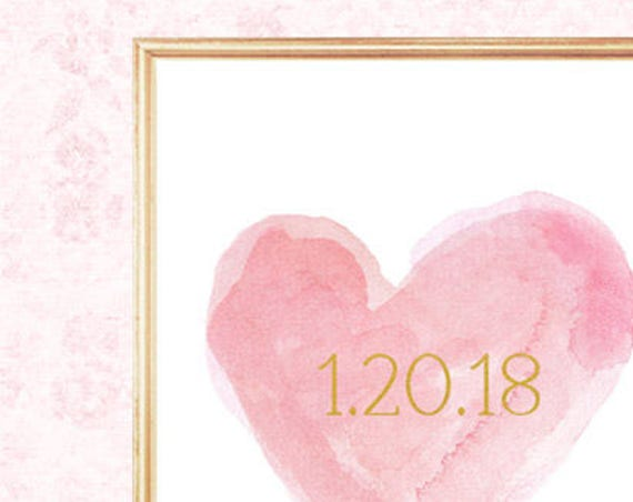 Pink and Gold Wedding, 8x10 Print with Wedding Date