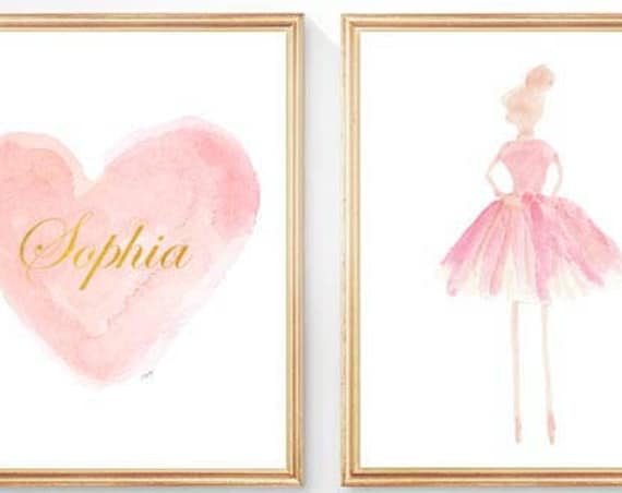 Children's Ballet Gift, Personalized Dance Prints, Set of 2-8x10 in Pink and Gold