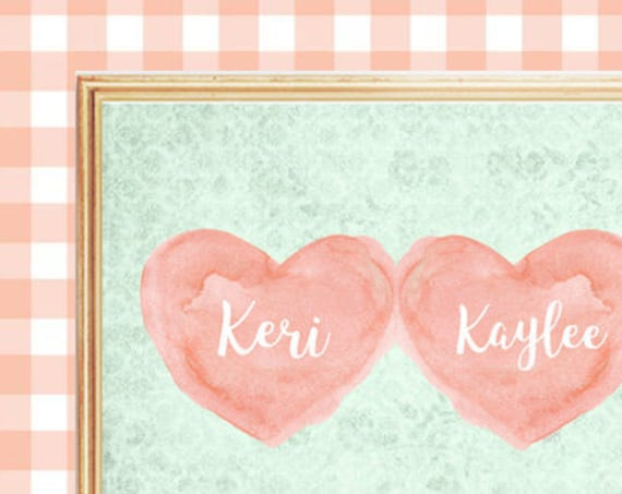 Coral and Mint Nursery Decor for Sisters, 8x10 Personalized Heart Prints