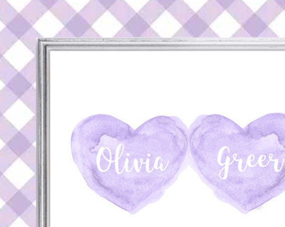 Sisters Nursery Art in Lavender, 8x10 Personalized