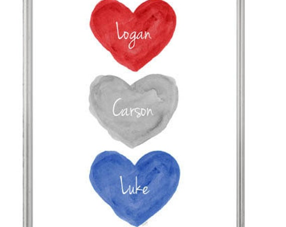 Boy Triplets Gift; Blue, Gray, Red Personalized Nursery Print, 8x10