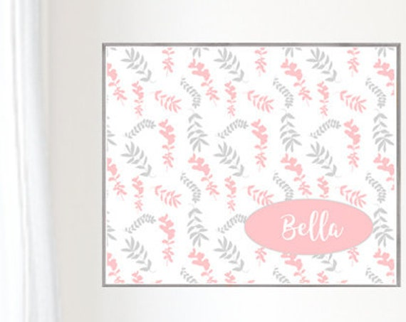 Blush and Gray Girls Print, 16x20 Fern Motif with Personalized Name