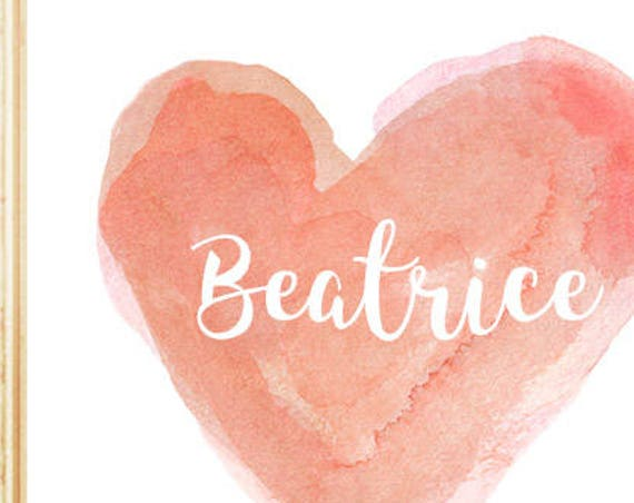 Personalized Coral Heart Print for Girls Room, 8x10