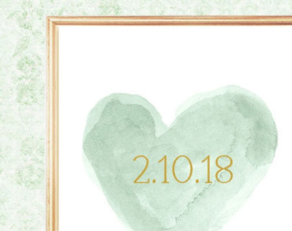 Mint Wedding Gift, 8x10 Print with Wedding Date
