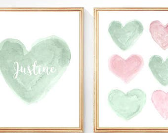 Pink and Mint Nursery Art, Set of 2 - 8x10 Watercolor Prints, Mint Wall Decor, Pastel Nursery Art, Pink and Mint Decor, Mint Watercolor