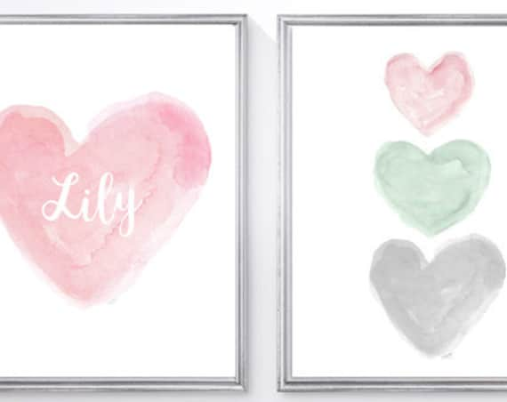 Pink and Mint and Gray Nursery Art, Set of 2 - 8x10 Watercolor Prints