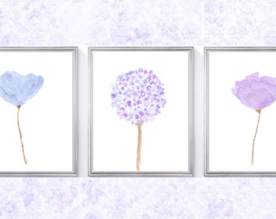 Lavender and Blue Flower Prints, Set of 4- 8x10 Floral Prints