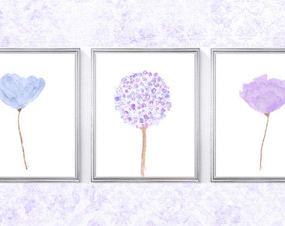 Lavender and Blue Flower Prints, Set of 3-8x10 Watercolor Floral Prints