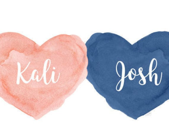 Coral and Navy Nursery for Boy and Girl, 8x10 Personalized