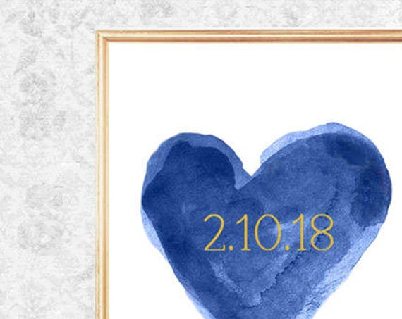 Navy Bridal Shower Gift, 8x10 Print with Gold Wedding Date