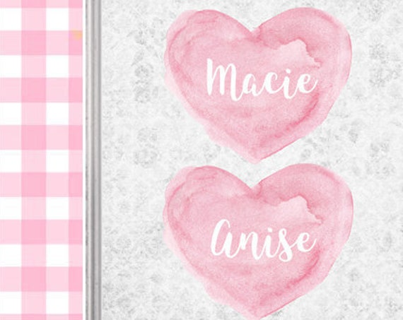Personalized Pink and Gray Nursery Print for Sisters, 8x10
