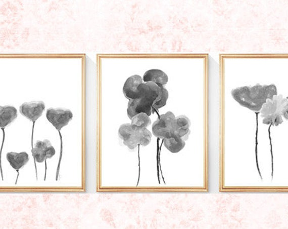 Gray Flower Prints, Set of 3- 8x10 Gray Watercolor Flower Prints