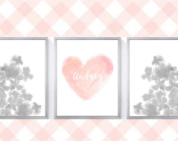 Blush and Gray Girls Room, Set of 3-8x10 Watercolor Prints