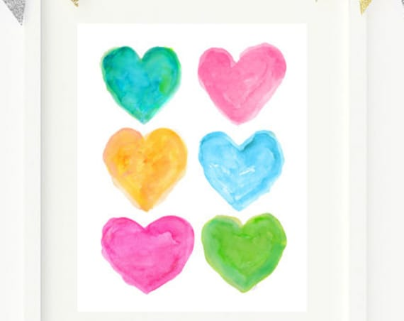 Preppy Girls Print, 8x10 Watercolor Heart Print
