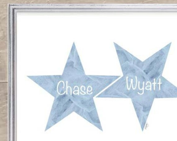 Newborn Brothers Gift; Personalized Star Print, 8x10